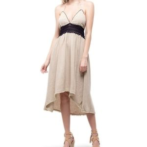 NWT Moon River Med High/Lo Lace&Linen Halter Dress